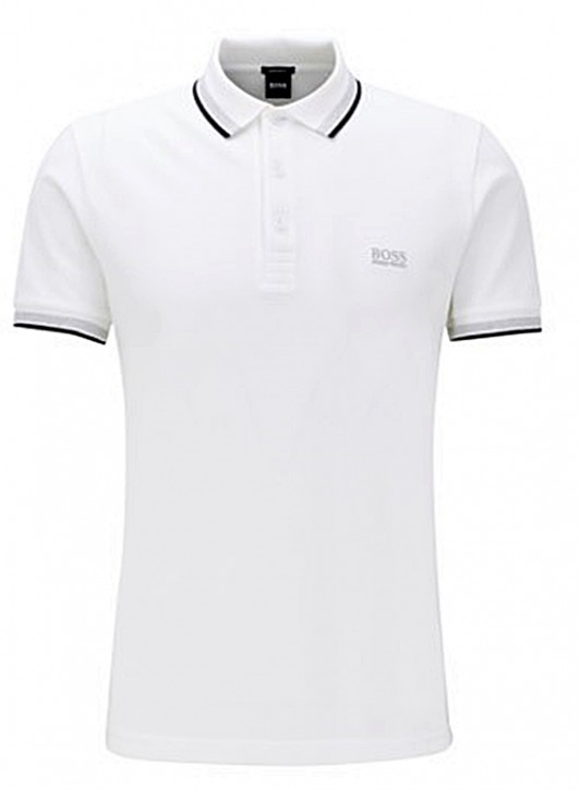 HUGO BOSS Poloshirt PADDY aus Baumwoll-Piqué mit Streifen an Kragen und Ärmelbündchen weiss 100