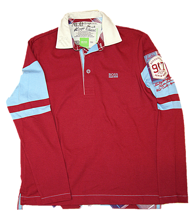 BOSS Damen Langarm Polo PARTIN 1mit Logo Stickerei und Batches rot 609