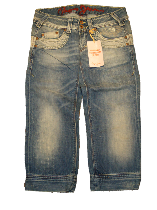 PEPE JEANS 3/4 HOSE BLUSH FARBE  BLAU DESTROYED 000