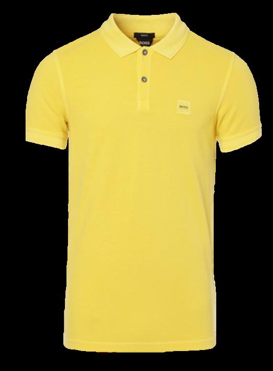 BOSS ORANGE Slim-Fit Poloshirt Prime aus gewaschenem Baumwoll-Piqué gelb 723
