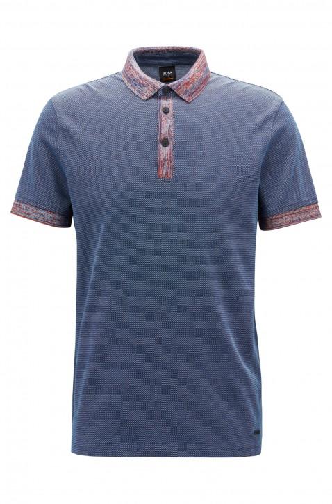 BOSS Poloshirt PUNCH aus Baumwolle mit gemusterten Details dunkelblau 404