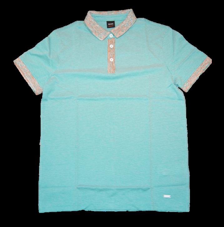BOSS Poloshirt PUNCH aus Baumwolle mit gemusterten Details open blue 491