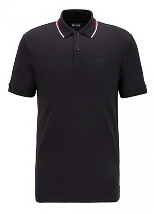 Hugo Boss Regular-fit Polo Shirt Parlay 104 mit gestreiftem Kragen schwarz 001