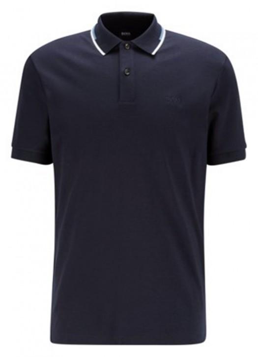 HUGO BOSS Regular-fit Polo Shirt Parlay 104 mit gestreiftem Kragen dunkelblau 402