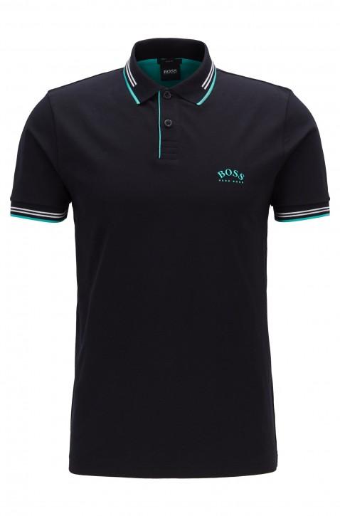 HUGO BOSS Slim-Fit Poloshirt PAUL CURVED aus Stretch-Piqué mit geschwungenem Logo schwarz 008