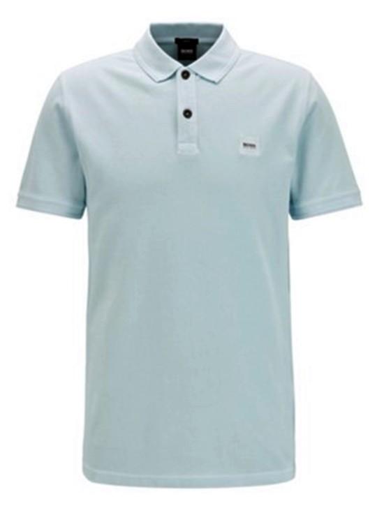 HUGO BOSS Slim-Fit Poloshirt PRIME aus gewaschenem Baumwoll-Piqué blau 489