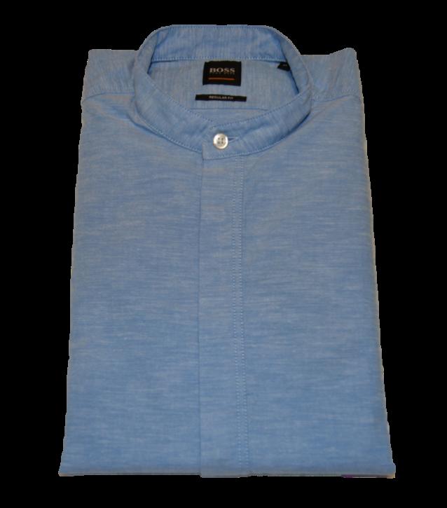 BOSS Regular-Fit Hemd  RACE aus angerauter Baumwolle mit Stehkragen blau 460