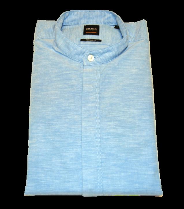 HUGO BOSS Regular-Fit Hemd RACE aus angerauter Baumwolle mit Stehkragen blau 460