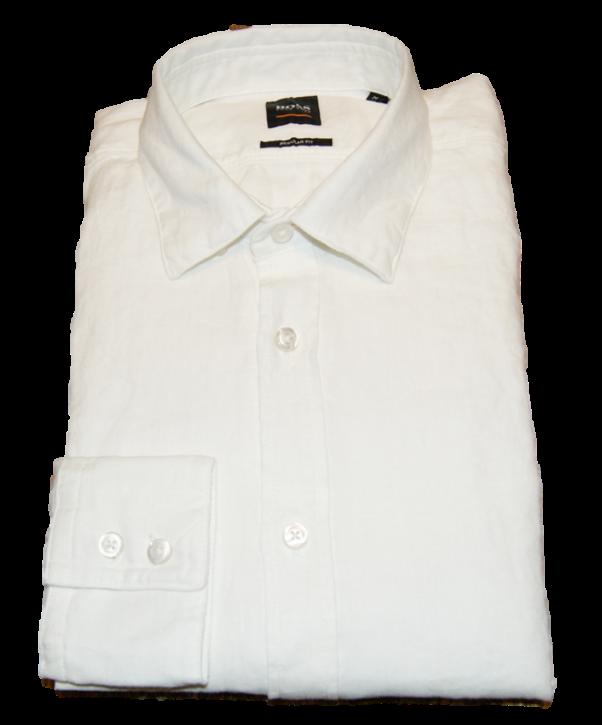 BOSS Regular-Fit Hemd RELEGANT_1 aus pigmentgefärbter Leinen-Popeline weiss