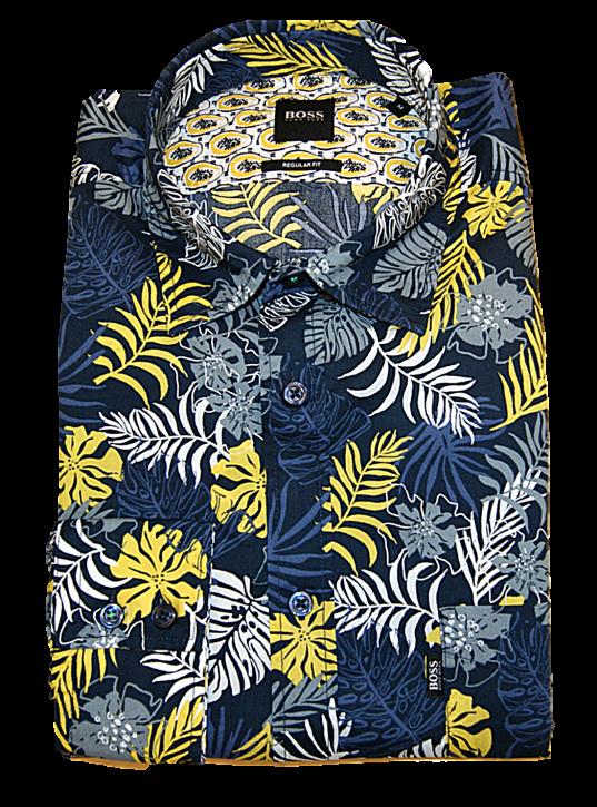 BOSS Regular-Fit Hemd RELEGANT_2 aus Baumwolle mit Blumen Muster Farbe blau 404