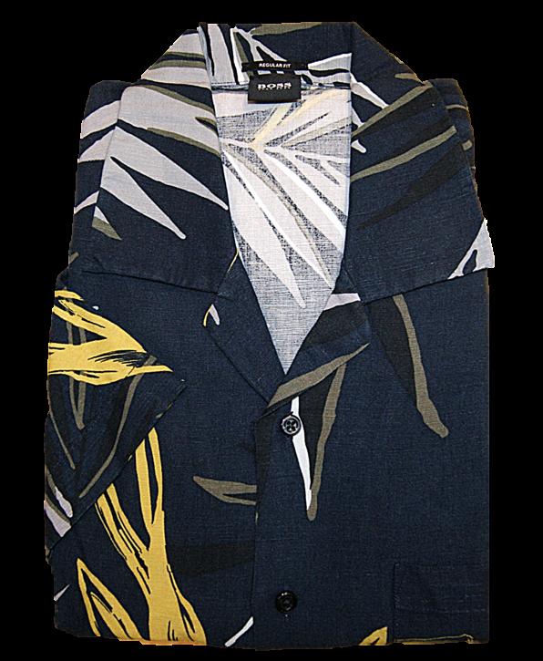 BOSS Regular-Fit Hemd RHYTHM aus Baumwolle mit Blätter-Print dunkelblau 404