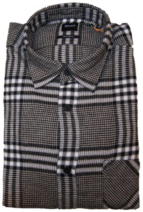 Hugo Boss Kariertes Regular-Fit Hemd RIOU aus Baumwoll-Flanell  schwarz weiß 262