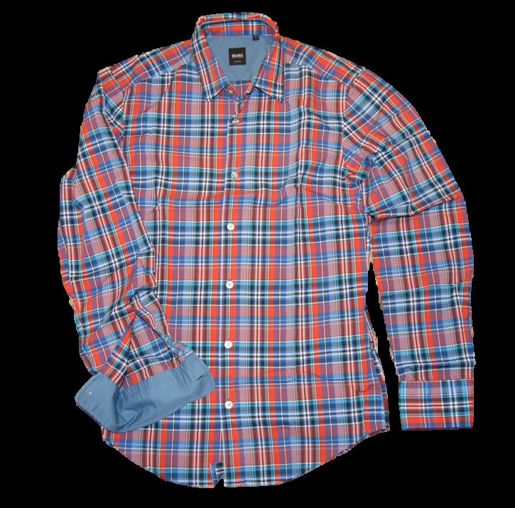 HUGO BOSS Kariertes Slim -Fit Baumwollhemd Ronny Farbe Orange karo 811