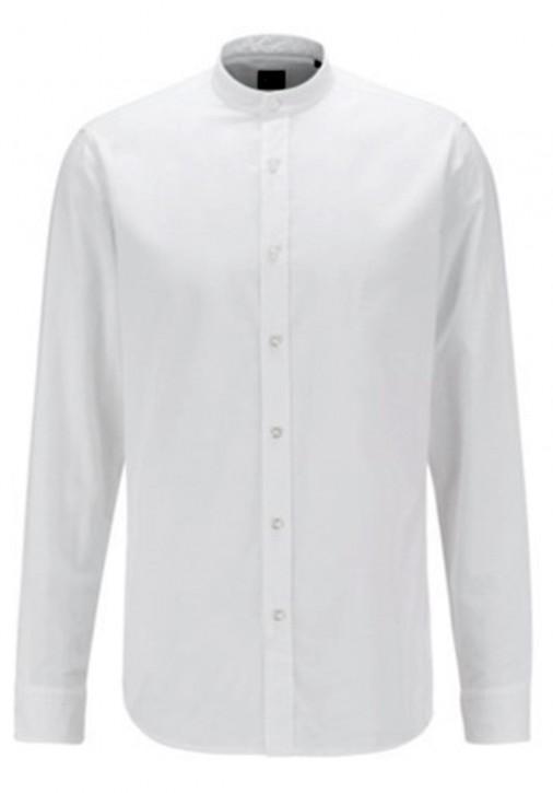 Hugo Boss Regular-Fit Hemd Race aus soft angerauter Baumwolle mit Stehkragen weiß