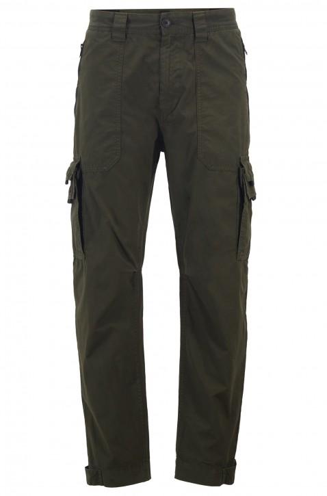 BOSS Tapered-Fit Cargohose SARGO aus doppelt gefärbter Baumwoll-Popeline dunkelgrün 346