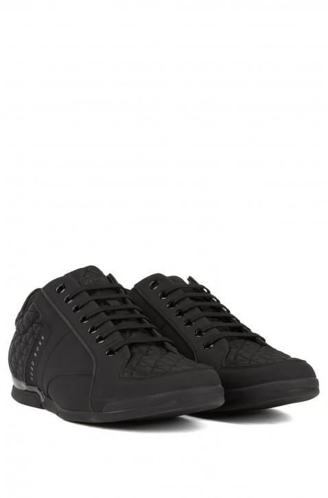 BOSS Lowtop Sneakers Saturn_Lowp_act2  aus Leder mit gesteppten Einsätzen schwarz 001