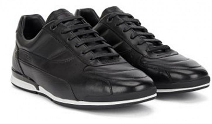Hugo Boss Lowtop Sneakers Saturn_Lowp_ltpr aus Nappaleder mit geprägtem Einsatz  schwarz 001