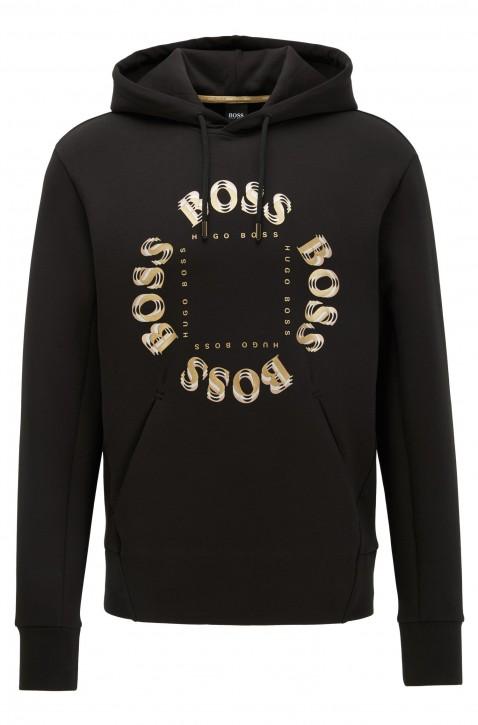 BOSS Kapuzen-Sweatshirt  SLY mit mehrlagigem Metallic-Logo schwarz 012