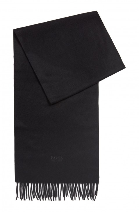HUGO BOSS Schal T-Scottas 02 aus italienischem Kaschmir mit Fransen schwarz 001