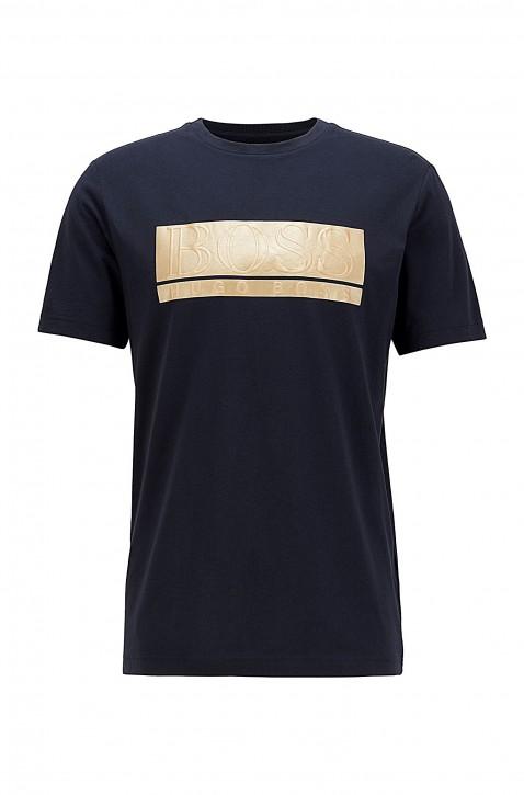HUGO BOSS Jersey-T-Shirt Teeonic aus Baumwoll-Mix mit aufgedrucktem Block-Logo dunkelblau 402