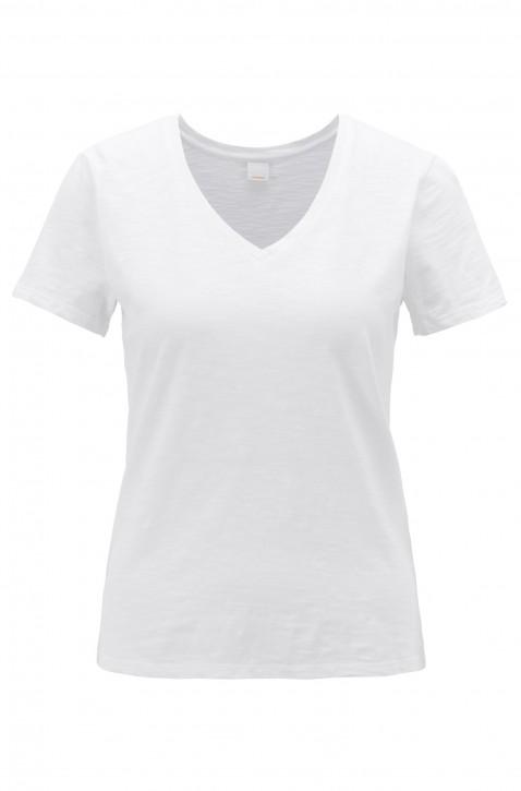 BOSS T-Shirt TEMODERN aus strukturierter Baumwolle mit V-Ausschnitt weiss 100