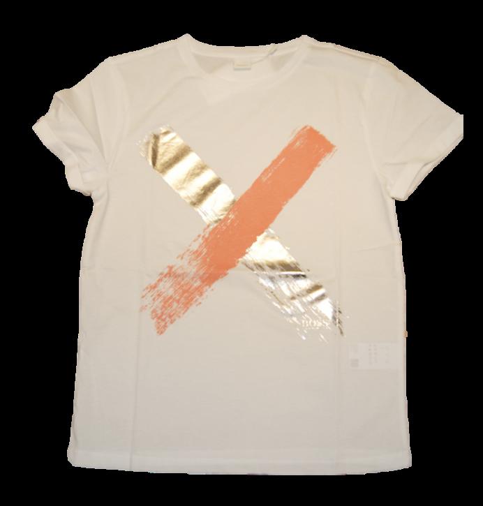 BOSS T-Shirt TEPAINT aus Baumwolle mit Kreuz-Print weiss 100