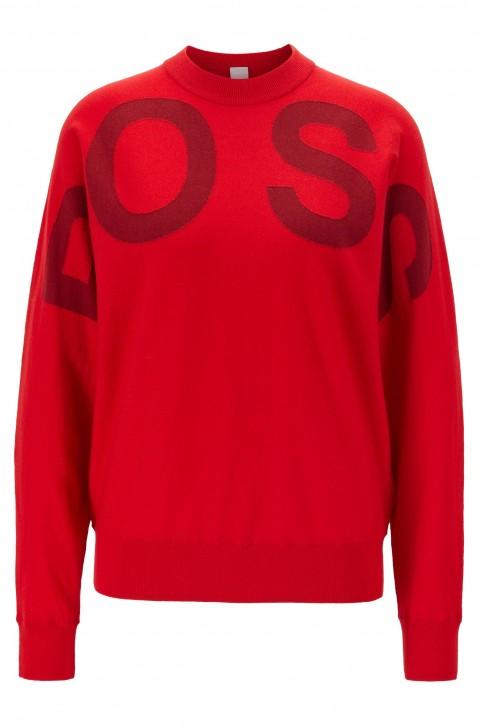 HUGO BOSS Pullover WALCI mit Rundhalsausschnitt und Logo rot 622