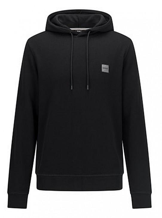 Hugo Boss Kapuzen-Sweatshirt Wetalk 1 aus French Terry mit meliertem Logo-Aufnäher schwarz 001