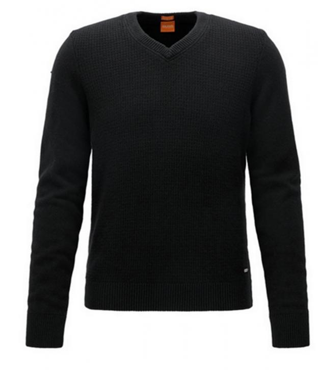 BOSS ORANGE Regular-Fit Pullover AMIDRAS aus Baumwoll-Mix mit Wolle Farbe schwarz 001