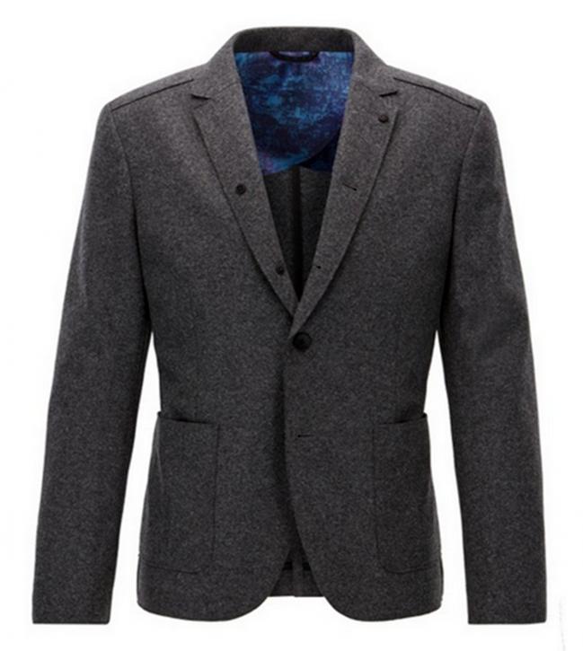 BOSS ORANGE Slim-Fit Sakko BECKS aus Schurwolle mit offenen Kanten Farbe dunkelgrau 022