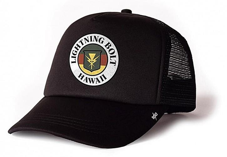 Lightning Bolt HAWAII TRUCKER CAP mit BOLT Logo auf dem Schirm Black-K00