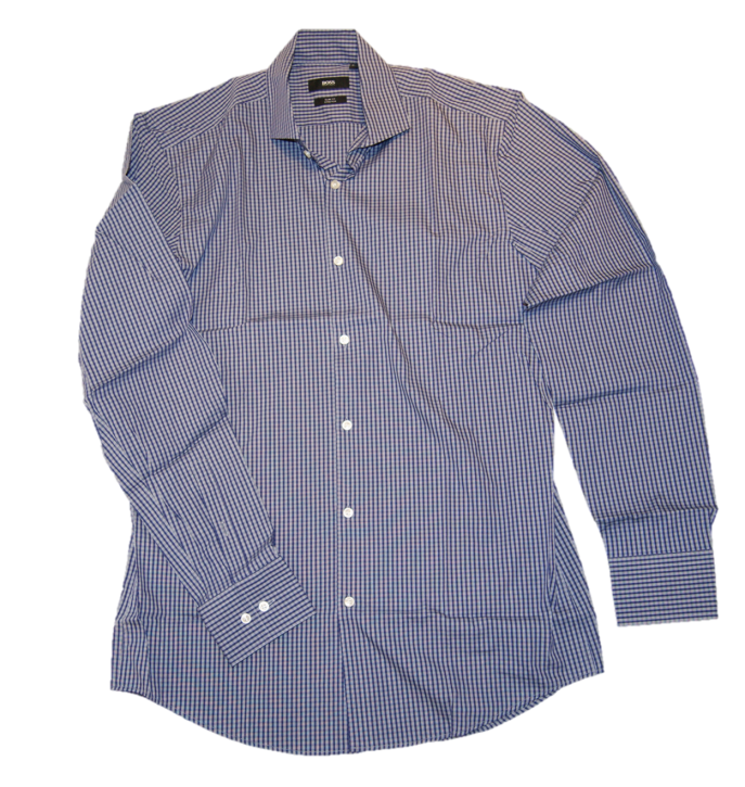 BOSS BLACK Langarm Hemd Jason Kariertes Slim Fit Stretch Farbe blau 410