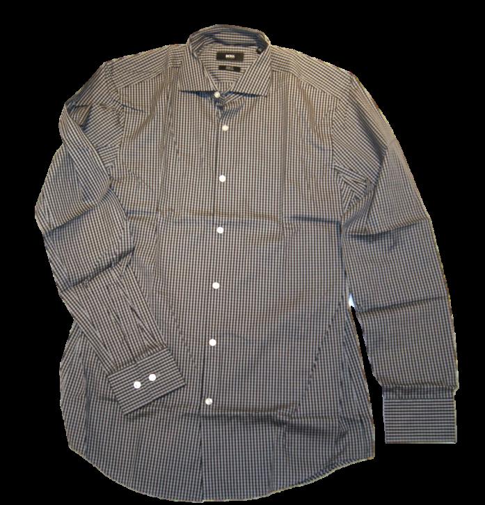 BOSS BLACK Langarm Hemd Jason Kariertes Slim Fit Stretch Farbe grau 002