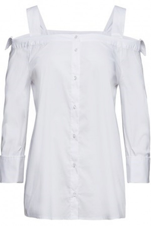 BOSS Schulterfreie Regular-Fit Bluse CALORIA aus Stretch-Baumwolle weiss 100