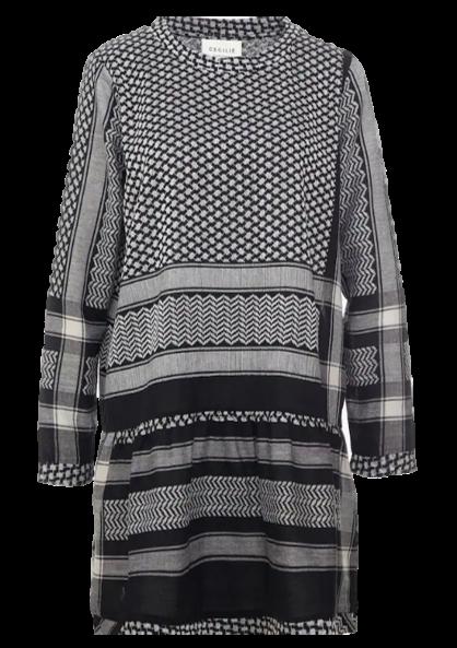 CECILIE COPENHAGEN Kleid DRESS 2,O, mit Langen Ärmeln in Kufiaymuster schwarz 150