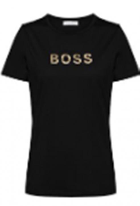 Hugo Boss Slim-Fit T-Shirt C_ELOGO_GOLD aus Baumwolle mit goldfarbenem Logo schwarz 001