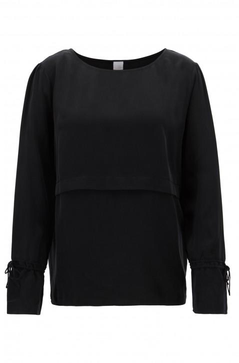 BOSS Bluse CLAVIS aus reiner Seide mit gerafften Ärmeln und Faltendetail  schwarz 001