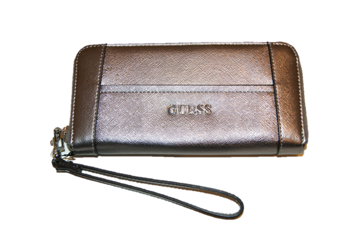GUESS GELDBÖRSE DELANEY LARGE ZIPP FARBE PEWTER  SILBER