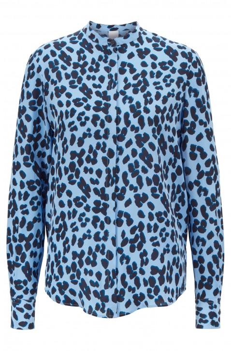 HUGO BOSS Relaxed-Fit Bluse  EFELIZE_17 aus reiner Seide mit Animal-Print blau 964