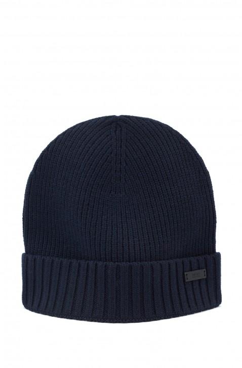 BOSS Mütze FATI-B aus gerippter Wolle mit metallenem Logo-Aufnäher schwarz 001