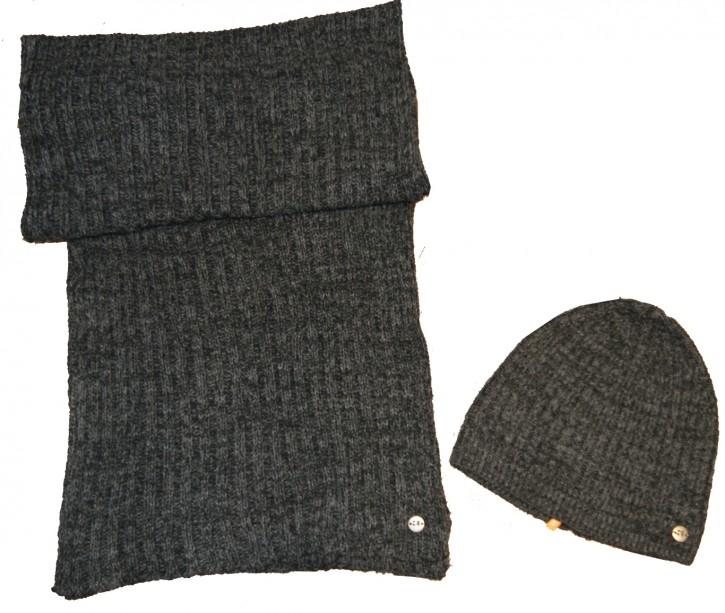Boss Orange Geschenkset Fenno Schal und Mütze in Präsentbox Farbe Grau