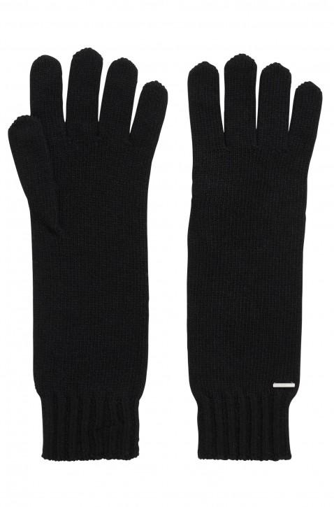 BOSS Lange Strick-Handschuhe GAMARU mit metallener Logo-Applikation