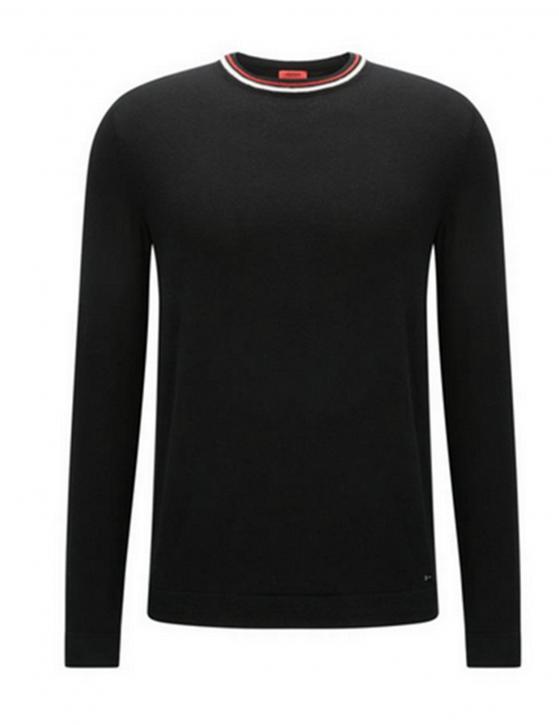 HUGO Slim-Fit Pullover SABO aus Baumwoll-Mix mit Seide und Kaschmir und Streifen-Detail Farbe schwarz 001