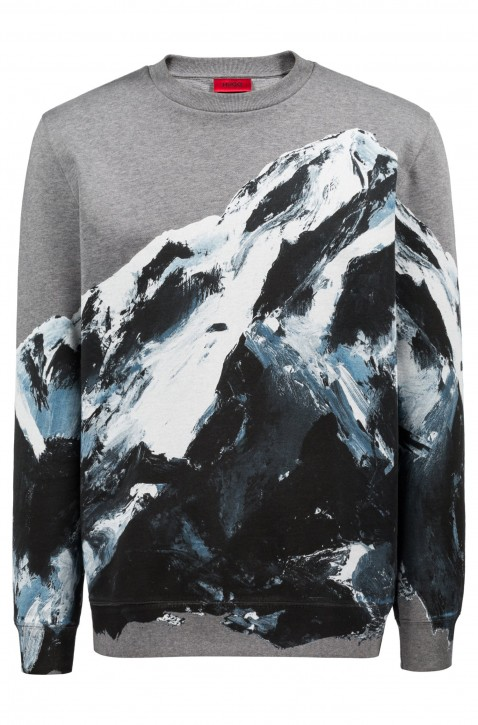 HUGO Oversized Sweatshirt DOUNTAIN aus Baumwolle mit Berg-Motiv