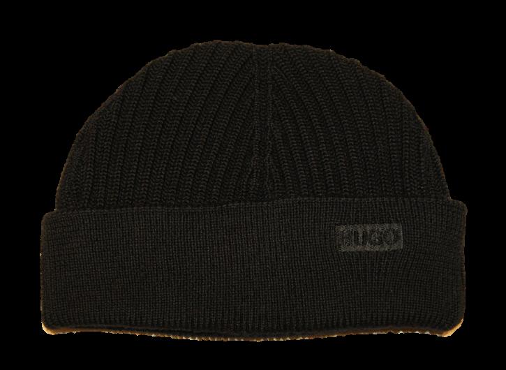 HUGO Gerippte Mütze XIANNO aus Merinowolle Farbe schwarz