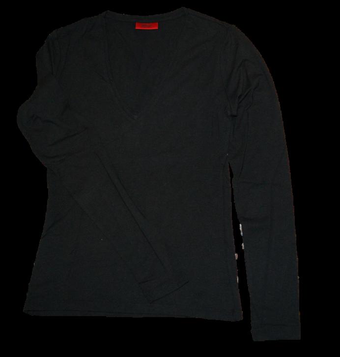 HUGO Women Langarm T-Shirt DANNI mit Stretchanteil Farbe schwarz 001