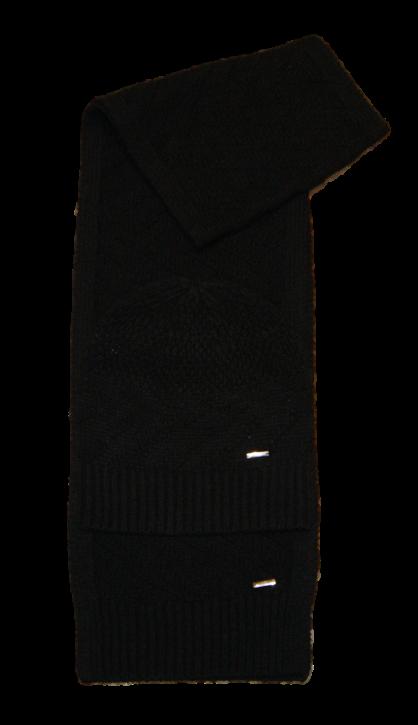 HUGO Gestricktes Jacquard  ZANTA SET mit Schal und Mütze aus Schurwolle Farbe schwarz 001