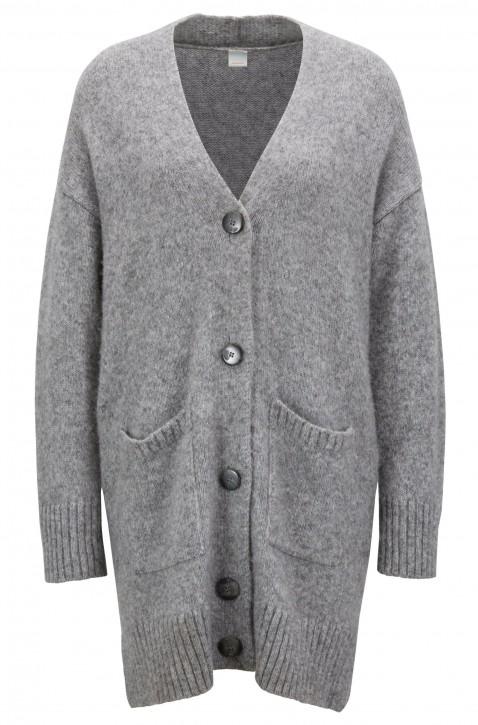 BOSS Langer Oversized Cardigan Ilollal mit überschnittenen Schultern silbergrau