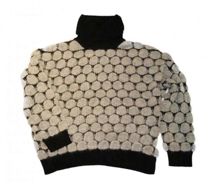 BOSS Rollkragenpullover IREANA mit Kreis-Struktur grau 045
