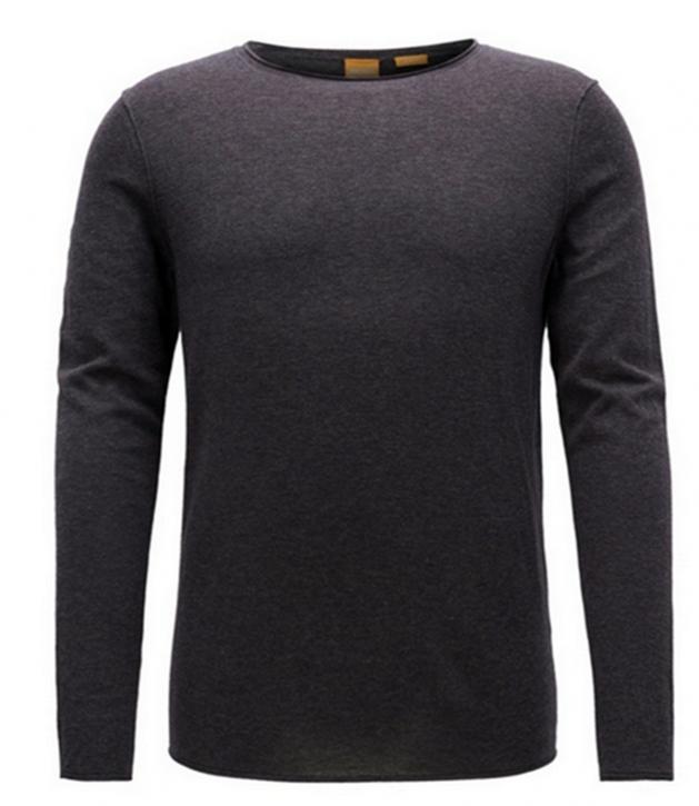 BOSS ORANGE Slim-Fit Pullover KAMIRO aus Baumwolle mit Kaschmir-Effekt Farbe dunkelgrau 022